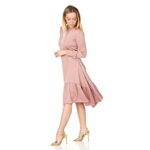 Eva Ruffle Assymetrical Satin Dress: Rose