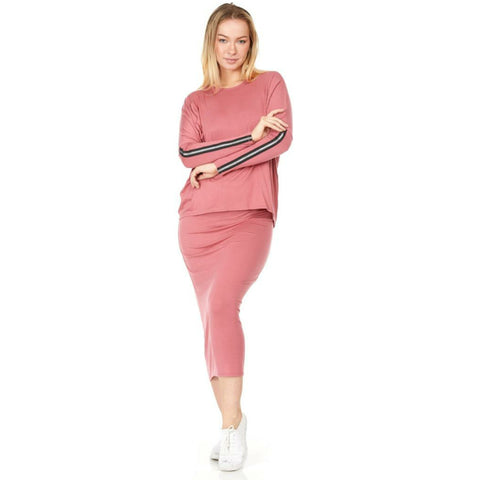Lucy Two Piece Zipper Sleeve Set: Marsala Pink