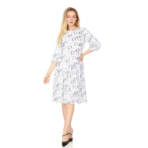 Louisa Assymetrical Ruffle Hem Dress: White