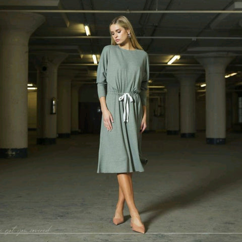 Georgia Drawcord Dress: Sage