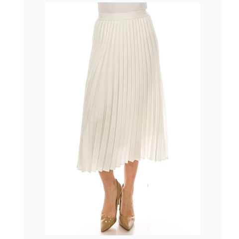 Pleated Crepe Midi Skirt by Yal: White
