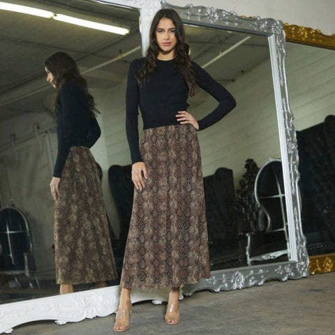 Diana Mesh Skirt: Chocolate Snakeskin