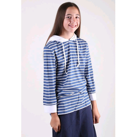 Striped Tshirt Hoodie: Blue/ White