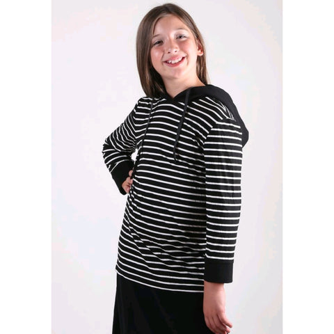 Striped Tshirt Hoodie: Black/ White