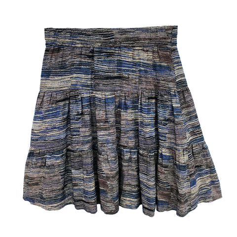 Multi Stripe Tiered Skirt (Teen): Navy/Grey/Ivory