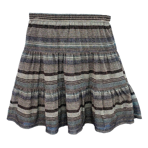 Striped Shimmer Tiered Skirt (Teen): Blue/Grey/Black