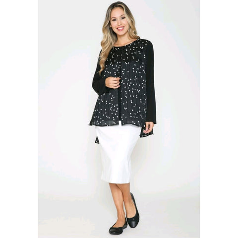 Split Front Polka Dot Mesh Top by Ivee