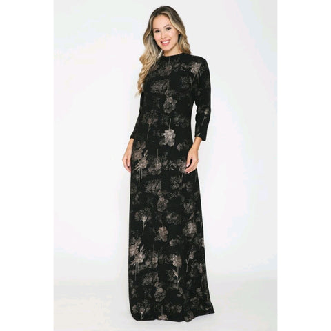 Floral Maxi Dress by Ivee: Black/Silver