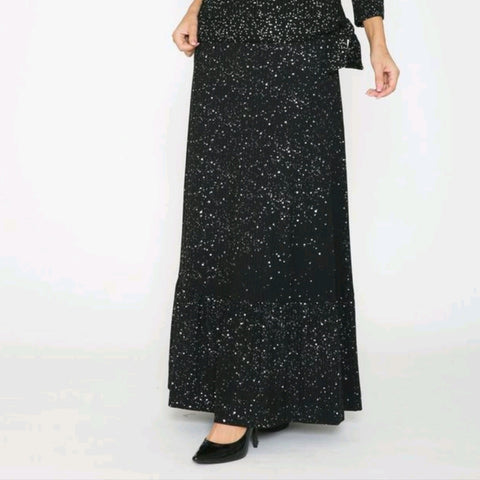 Speckled Ruffle Hem Maxi Skirt: Black/Silver