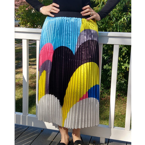 Modern Art Pleated Midi Skirt by Ivee