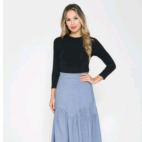 Scallop Tiered Midi Skirt by Ivee: Denim
