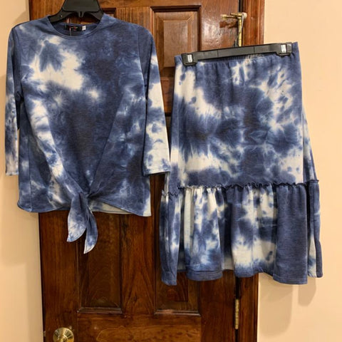 Tye Dye Tie Top 2 Piece Set: Blue/ White