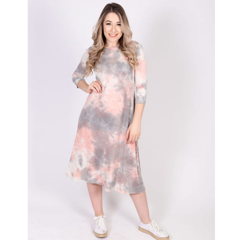 Penny Dress- Light Pink/Grey Tye Dye