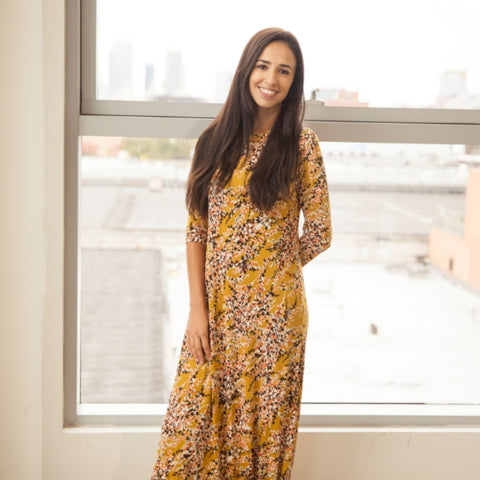 Floral Maxi by JackieO: Mustard