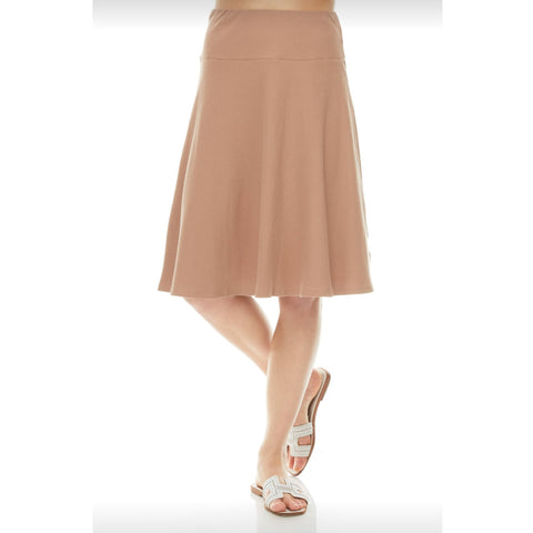 Ribbed Skye Skirt: Taupe