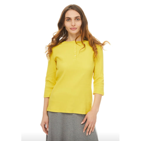 Ribbed Henley Tee: Sunshine Yellow