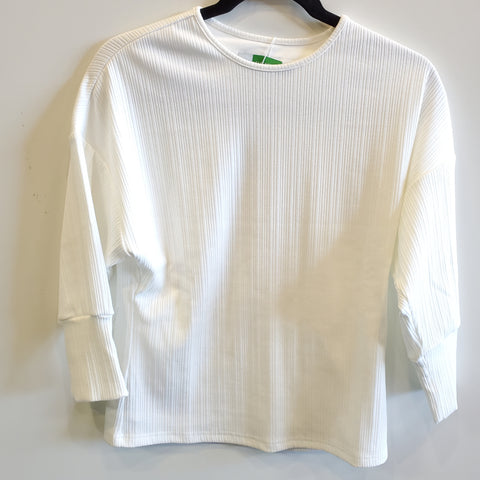 Puff Sleeve Ribbed Dolman Top: White