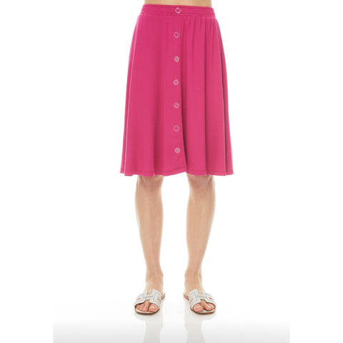 Front Button Skirt: Magenta