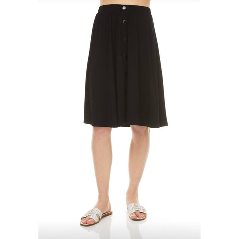 Front Button Skirt: Black