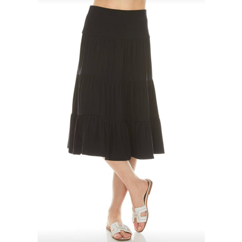 Ruffle Skirt (Knee Length): Black
