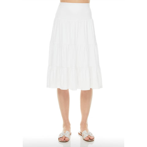 Ruffle Skirt (Knee Length): White