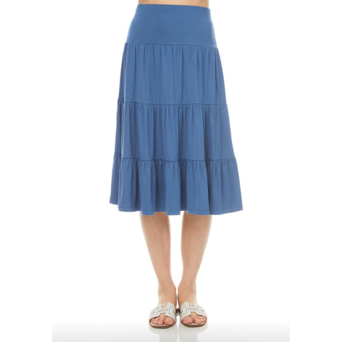 Ruffle Skirt (Knee Length): Slate Blue