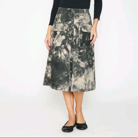 Avery Tye Dye Pocket Skirt by Ivee: Tan/Black
