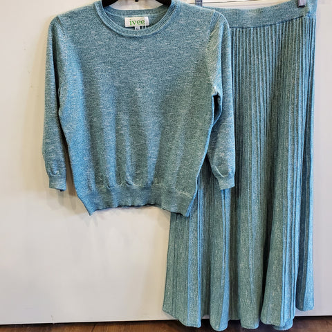 Heathered Knit 2 Piece Set By Ivee: Teal