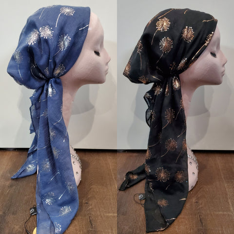 Dacee Pre Tied Headscarves: Foil Flowers