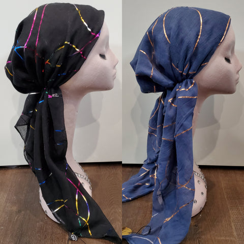 Dacee Pre Tied Headscarves: Foil Swirls