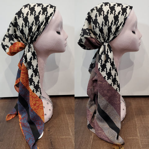 Dacee Pre Tied Headscarves: Houndstooth
