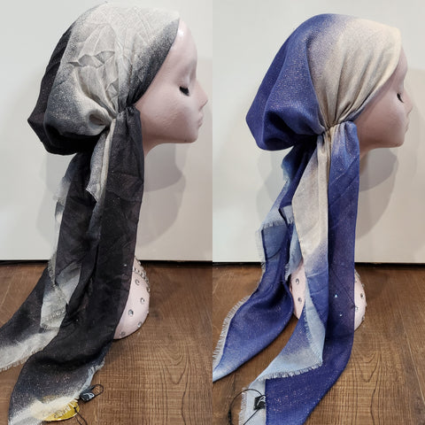 Dacee Pre Tied Headscarves: Ombre Striped Lurex