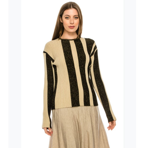Shimmer Ribbed Tan & Black Sweater by Yal
