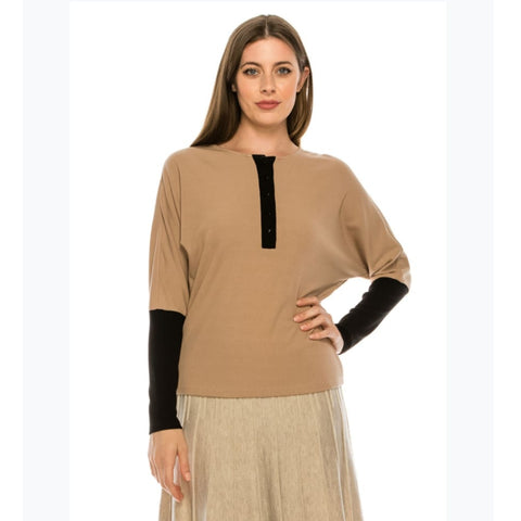 Dolman Colorblock Henley by Yal: Black/Tan