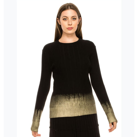 Black & Gold Foil Sweater by Yal