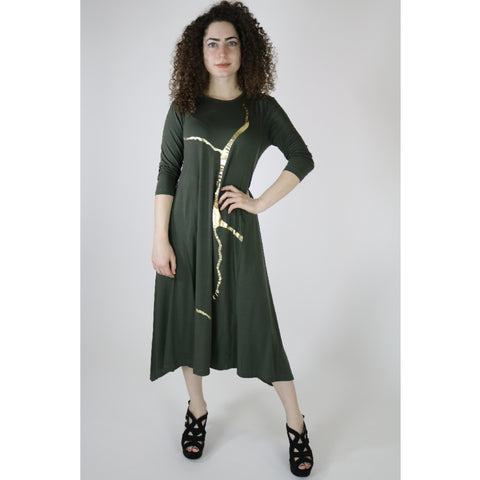 Erina Dress by Mikah: Green/Gold