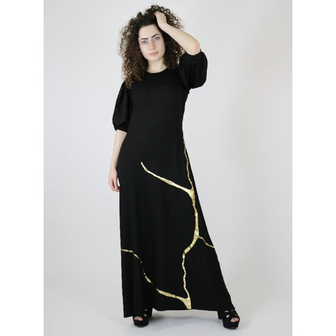 Asuna Maxi by Mikah: Black/Gold Kintsugi