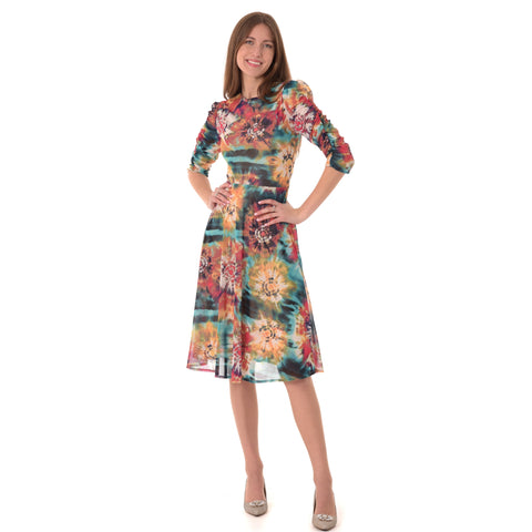 Rouched Sleeve Colorful Dress: Red/ Yellow/Teal