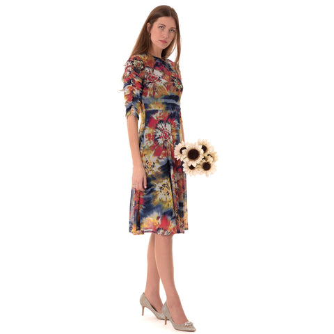 Rouched Sleeve Colorful Dress: Red/Royal Blue