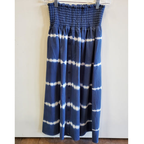 Striped Tye Dye Button Skirt by Olly: Blue