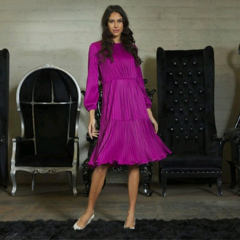 Alicia Tier Dress: Magenta