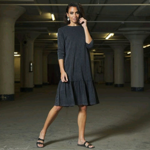 Mineral Wash Dress II: Black Denim Wash