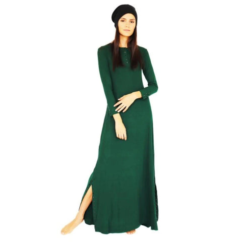 Henley Ribbed Maxi Dress: Green
