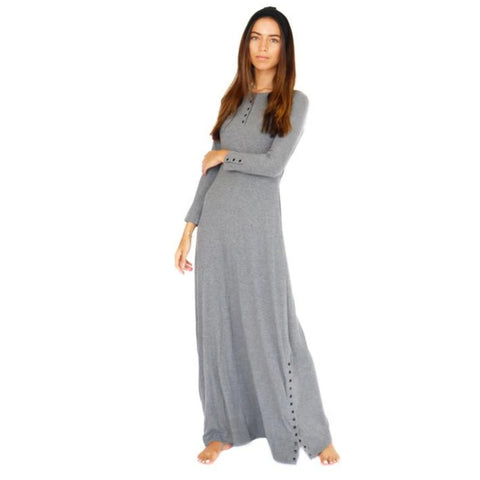 Henley Ribbed Maxi Dress: Charcoal Grey