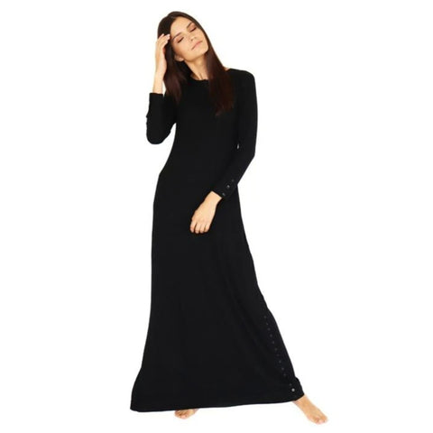 Henley Ribbed Maxi Dress: Black