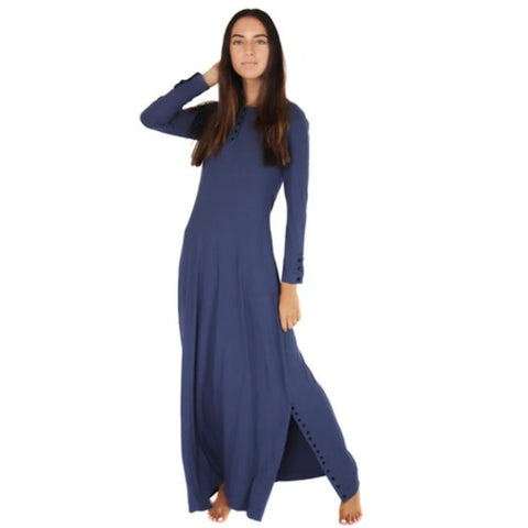 Henley Ribbed Maxi Dress: Denim Blue
