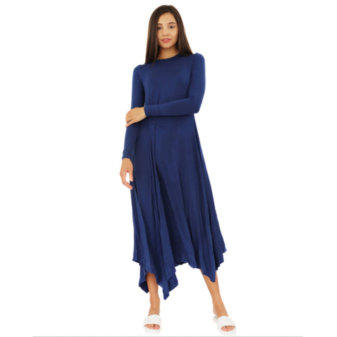 Asymmetrical Pinned Maxi Dress: 2 Colors