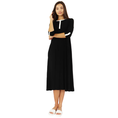 Henley Swing Dress: Black/ White