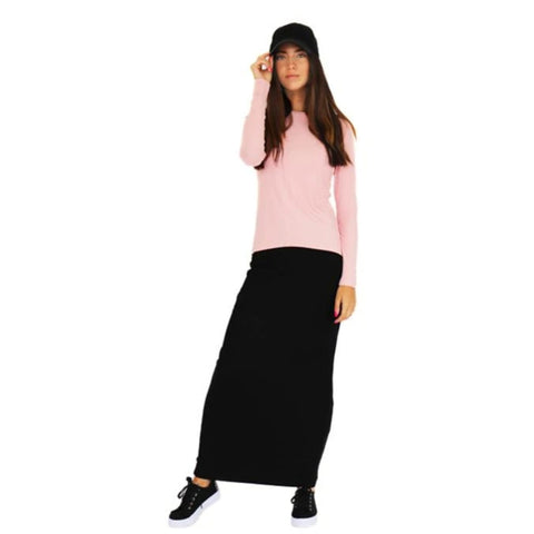 Ribbed Maxi Pencil Skirt Ava Lea