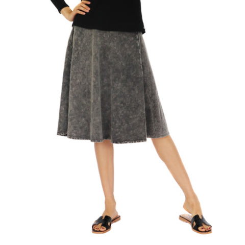 Jinx Acid Wash Flare Skirt: Black